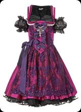 Semira - kurzarm Trachten-Kleid in burgund