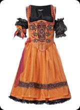 Semira II - kurzarm Tracht in orange schwarz