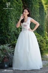 Rossane - Dirndel kleid in Weiss mit rosa Muster